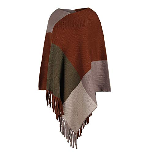 Best Bargain KYLEON Women's Sweaters Colourblock Scarf Pullover Poncho Cape Fringed Hem Shawl Cloak ...