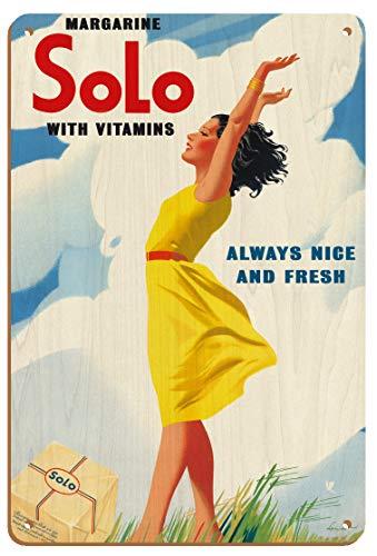 Cartel de madera vintage con diseño de margarina solo, con vitaminas y vitaminas