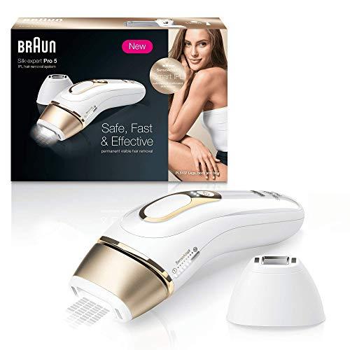 Braun Silk·Expert Pro 5 PL5124 Depiladora Luz Pulsada (IPL) de Última Generación, Depilación Permanente, También Adecuada para Hombre, Blanco / Dorado