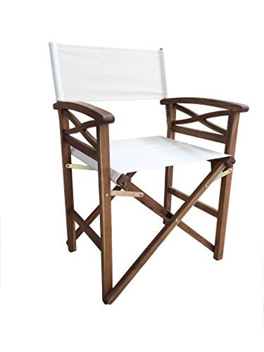 Michele Sogari & C. Srl Sedia Regista in Legno richiudibile con Seduta e Schienale Beige in Poliestere 55 x 52 x 85 cm Poltrona Relax Ideale per Giardino Piscina Mare