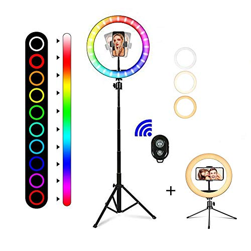 10' RGB Selfie Ring Light with Two Tripod Stand & Cell Phone Holder for Live Stream/Make...