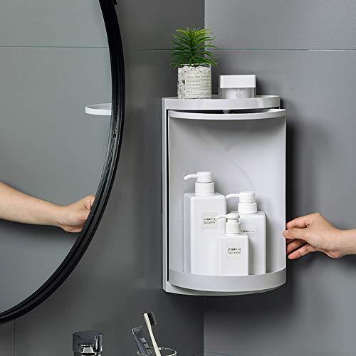 DIYARTS Bathroom Rotating Triangle Storage Rack 360 Degree Rotating Multi-Function Organizer Plastic Triangle Shelf Dust-Proof Waterproof Corner Rack for Cabinet Bathroom Kitchen Bedroom (Grey)