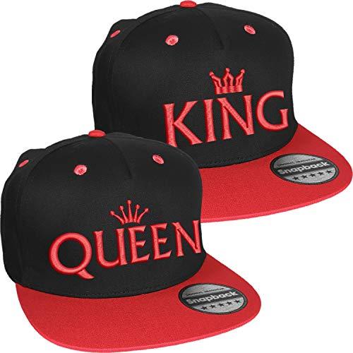 Nashville print factory Snapback Basecap Bestickt mit Motiv Krone   King & Queen Stickerei Partner-Cap für Sie & Ihn (Rot)