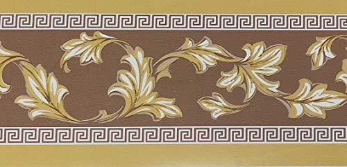 Dundee Deco MGAZBD3105 Tapeten-Bordüre, Damast, senffarben, gelb-grün, Blätter, selbstklebend, Tapetenbordüre 10 m x 10 cm