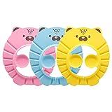sorliva Kinder Duschhaube,Shampoo Schutz für Kinder,mit Gehörschutz,Kinder Shampoohaube,für Kleinkind Babypflege, 3er Pack