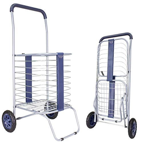 Cruiser Cart Shopping Cart Grocery Rolling Folding Laundry Basket on Wheels Foldable Utility Trolley Compact Lightweight Collapsible