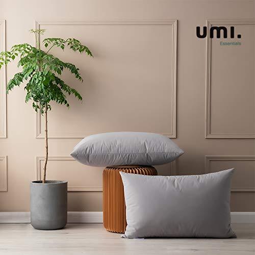 UMI. by Amazon - Pack de Dos Almohadas de Plumas de Ganso Blancas con Tela 100% de algodón (48x74cm -firmeza Mediana, Gris)