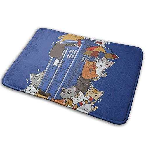 Kitten Who Police Box Outdoor Indoor Doormat Bath Mat Carpet Floor Mat Kitchen Bedroom Garden Bathroom