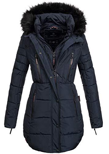 Marikoo warme Damen Winter Jacke Winterjacke Parka Stepp Mantel lang B401 [B401-Moonshine-Blau-Gr.XL]