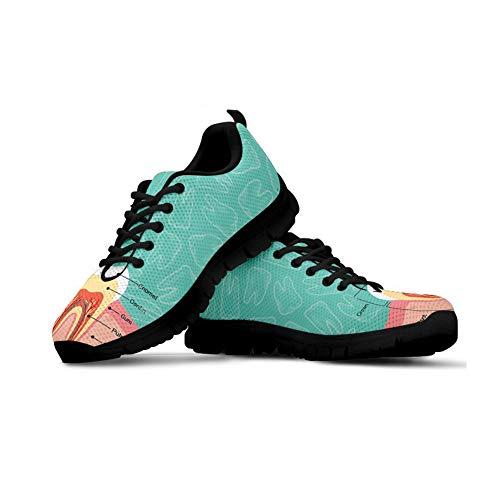 Agroupdream Unisex-Erwachsene Laufschuhe Atmungsaktiv Turnschuhe Schnürer Sportschuhe Sneaker Straßenlaufschuhe für Damen Dental Tooth Modell Blau Größe 38