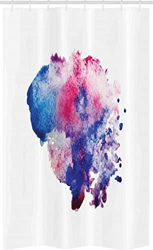 ABAKUHAUS Fuchsie Schmaler Duschvorhang, Aquarell Splash Zusammenfassung, Badezimmer Deko Set aus Stoff mit Haken, 120 x 180 cm, Magenta Marine-Blau-Rosa