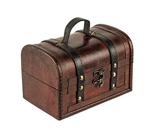 Schatztruhe aus Holz - 18 x 12 x 12 cm - Schatzkiste mit Verschluss, Dekotruhe, Holztruhe, Holzbox mit Deckel