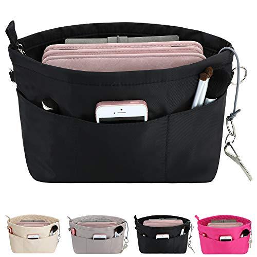 HyFanStr Handtaschen Organizer Nylon, Taschenorganizer Tasche in Tasche Organizer Innentaschen für Handtaschen mit Schlüsselkette,Schwarz,Mittel