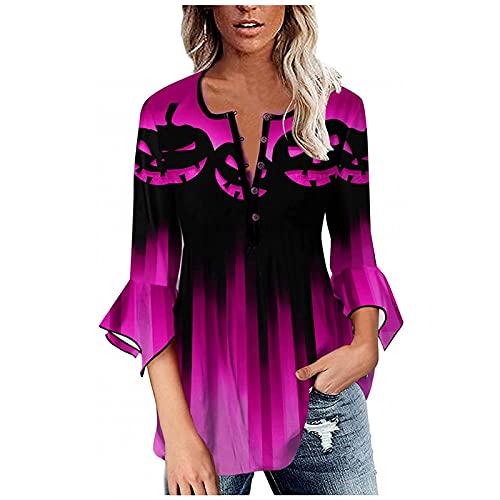 Women Halloween Buttom Down V Neck Shirts Tops Shirt Gradient 3/4 Flared Sleeves Blouse Pumpkin Print Pullover Tee Hot Pink
