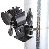 YChoice365 Ventilador de 4 hojas alimentado por calor, tubo de combustión magnético alimentado por calor, respetuoso con el medio ambiente y eficiente ventilador para estufa de leña