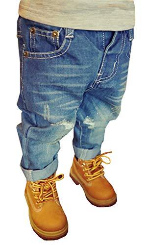 EMAOR Unisex Kids Baby Elastic Waist Ripped Holes Denim Pants Jeans Blue, 2T = Tag 90