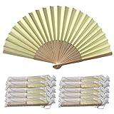 Rangebow PHF10 paquete de crema de 10 al por mayor mano de papel ventilador de bambú costillas favor de la boda
