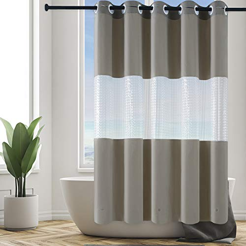 Furlinic Duschvorhang aus PEVA 180x180cm Wasserdicht Waschbar Anti-schimmel Vorhang mit 3D Fenster für Badewanne & Dusche in Badezimmer Duschvorhänge mit Magnet Khaki mit Groß Ösen.