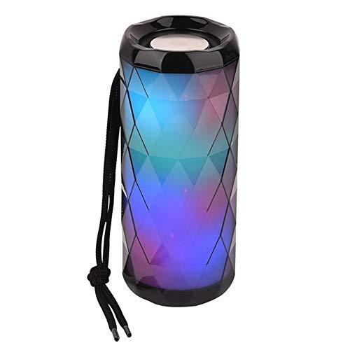 Altavoz Bluetooth Inalámbrico LED Portátil LED Color Cool Polygonal Design Impermeable Supports Soportes FM Radio TF Tarjeta 3D Surround Sreed,Negro