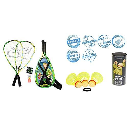 Speedminton® Junior Set – Original Speed Badminton/Crossminton Kinder Set inkl. 2 Fun Speeder®, Tasche & Speedminton Night Speeder - 3er Pack leuchtende Speed Badminton/Crossminton Bälle