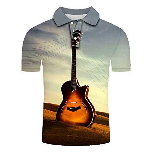 Herren 3D Druckten Kurzarm Poloshirt, Hawaiihemd Lustig Shirt für Täglich Urlaub T-Shirt, Oberteil für Männer, Herrenshirt Lässiger Klassiker bequem atmungsaktiv Sunshine Gitarre, 5XL