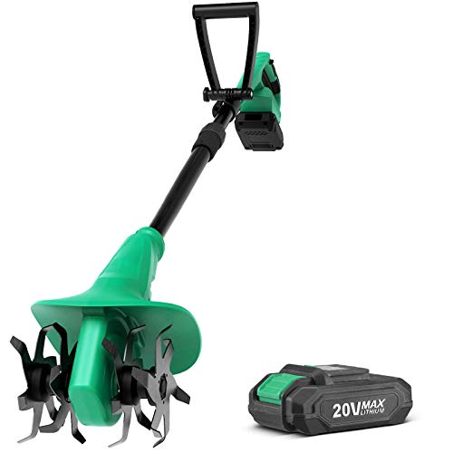 Cordless Tiller Cultivator - KIMO 7.8-Inch Electric Tiller Cultivator, 20V 280RPM Battery Tiller w 24 Steel Tines Max Tilling 7.8-Inch Width & 5-Inch Depth for Digging, Weed Removal & Soil Cultivation