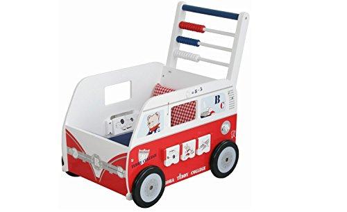 roba Teddybus aus Puppenmöbel Serie 'Teddy College', Puppenwagen weiss lackiert, Puppenzubehör inkl. Kissen, Decke und Spielfunktionen