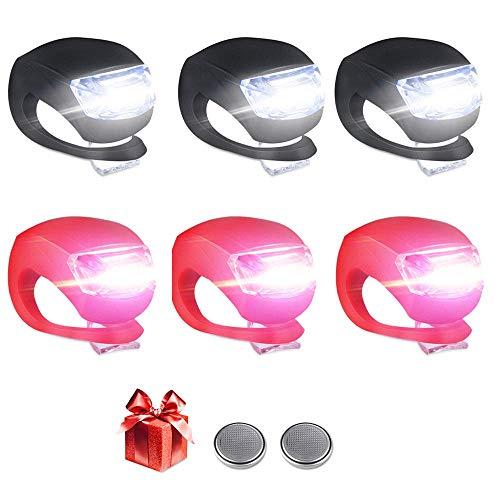 Kinderwagen Licht,Vivibel 6 Stück LED Lampe Licht, LED Sicherheitslicht Silikon Leuchte Kinderwagen (3X LED Weißlicht & 3X LED rotlicht) Blinklicht Taschenlampe