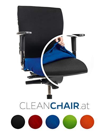 CLEANCHAIR Bürostuhlbezug für die SITZFLÄCHE (Größe Standard) - Sitzflächengröße ca. 40-52 cm Breite und ca. 40-52 cm Tiefe (Blau)
