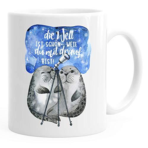 Geschenk-Tasse Die Welt ist schön weil du mit drauf bist Liebe Spruch Seehunde Robben Sterne MoonWorks® weiß unisize