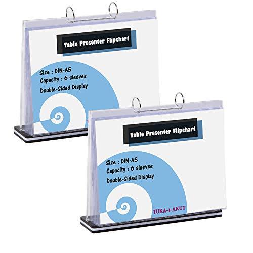 TUKA-i-AKUT 2er A5 Tisch-Flipchart aus Acryl mit Basis, Beidseitig Präsentation Flipchart, Aufstellringbuch, 6 Hüllen T Form Desktop Flip Chart, Tischaufsteller A5 Quer Format, TKD8210-A5-2x