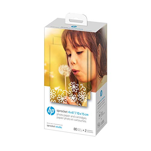 HP Sprocket Studio 4x6' Photo Paper & Cartridges (80 Sheets - 2 Cartridges) Compatible with HP Sprocket Studio.