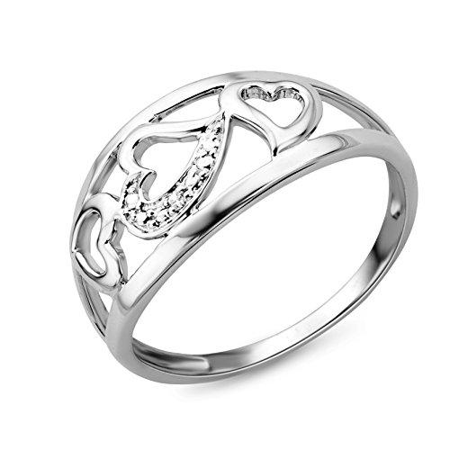 Miore anillo de corazón para mujer en oro blanco de 9 quilates con un diamante natural