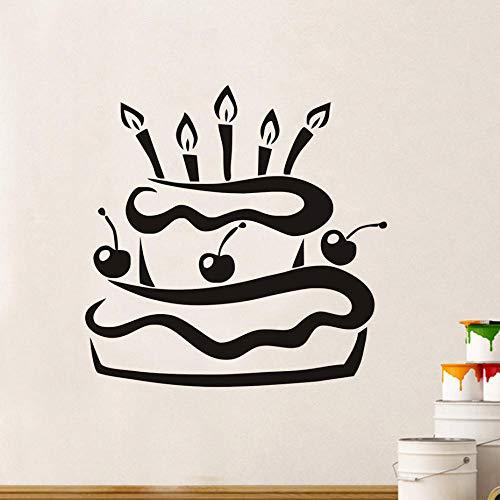 HJZS Wandaufkleber Wohnzimmer wasserdichte Küche Kirsche Geburtstagstorte Mit Kerzen Wandaufkleber Modernes Design Geschenk Tapete Wohnkultur