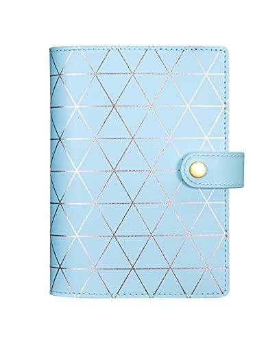 Rubywoo Regenerated Leather Journal Composición De Viaje Cuaderno Redondo Anillo Carpeta Botón Filofax Planificador Organizador Memo Personal (Bluegold, A6)