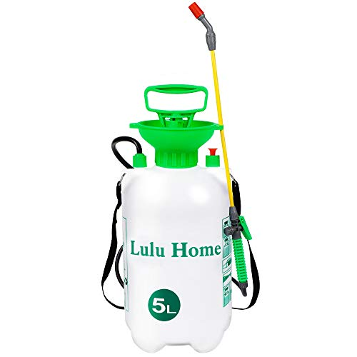 Lulu Home 1.3 Gallon Garden Pump Sprayer, Lawn Pump Water Sprayer with 21.6' Wand Equipped with Adjustable Shoulder Strap, Automatic Pressure Relief Valve
