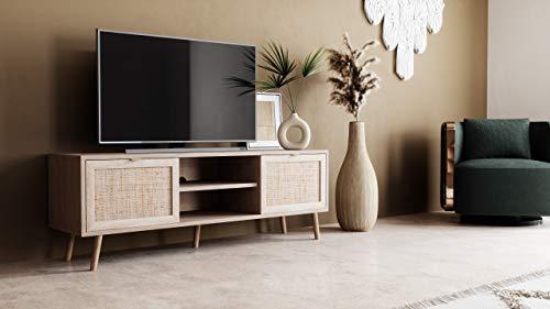 Newfurn TV Lowboard Sonoma Eiche Rattan Optik TV Schrank Modern Skandinavisch - 150x52x40 cm (BxHxT) - Fernsehtisch TV Board Rack Boho - [Mila.Eight] Wohnzimmer - 2