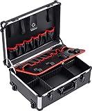 Meister Carro de herramientas vacío, 460 x 350 x 190 mm, con ruedas, compartimentos individuales, 15 bolsas de herramientas con bandas de goma, 15 kg, estabilizador de aluminio