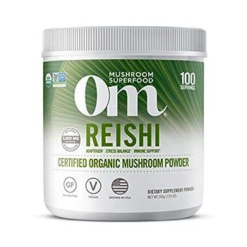 Om Mushroom Superfood Reishi Organic Mushroom Powder 7.05 Ounce 100 Servings Adaptogen Stress & Immune Support Superfood Mushroom Supplement