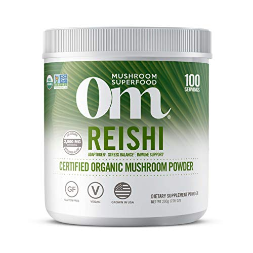 Om Organic Mushroom Superfood Powder, Reishi, 7.05 Ounce (100 Servings), Stress & Immune Support Supplement