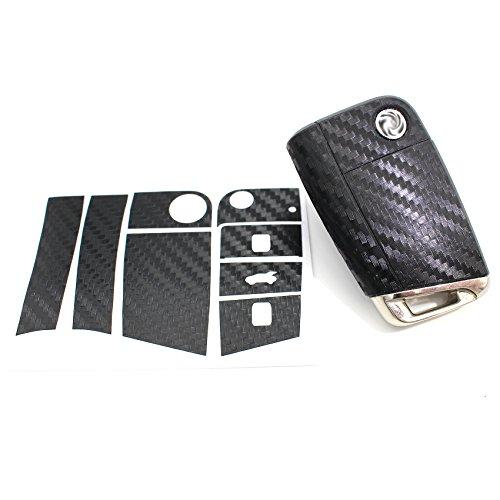 Finest Folia Schlüssel Folie K142 für 3 Tasten Auto Schlüssel Folien Cover Etui Schutzhülle Schlüsselhülle (Carbon Schwarz)