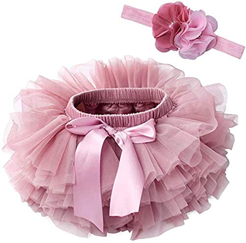 Verve Jelly Niemowlę dziewczynki falbanki Tutu Bloomers pokrowiec na pieluchy tiulowa spódnica i kwiaty koraliki opaska na głowę zestaw