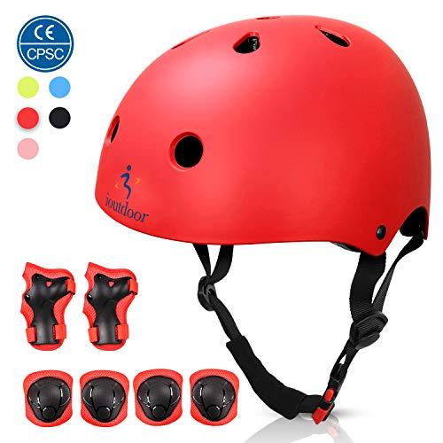 ioutdoor Kinderhelm, Fahrradhelm Einstellbar für Kleinkinder, Jungen, Mädchen, Jugendliche, CPSC-Zertifiziert, Schutzausrüstung, für Radfahren, Skaten, Snowboarden (Rot mit Schutzausrüstung, S)