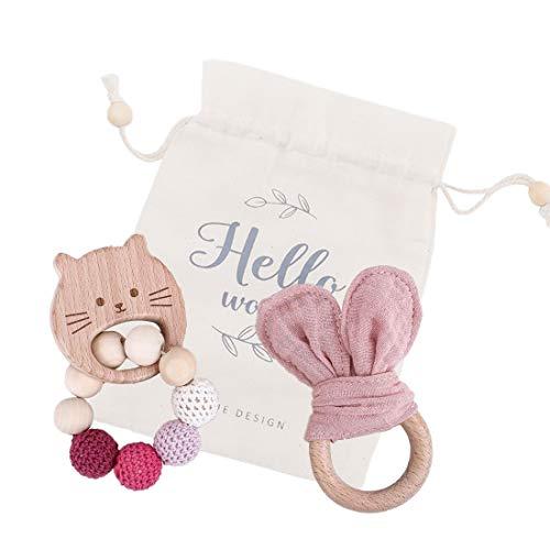 Mamimami Home 2pc Baby Nursing Bracelet Bunny Teether Maple Animal De Madera Crochet Beads Sonajero Orgánico Calmar Baby Play Gym Para La Dentición(Rosado)
