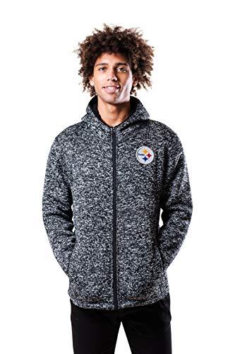 NFL Ultra Game Pittsburgh Steelers Full Zip Fleece Hoodie Letterman Varsity Jacket, Medium, Team Color