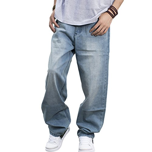 RUIXI Men's Baggy Hip Hop Jeans Loose Street Style Denim Long Pants Light Blue