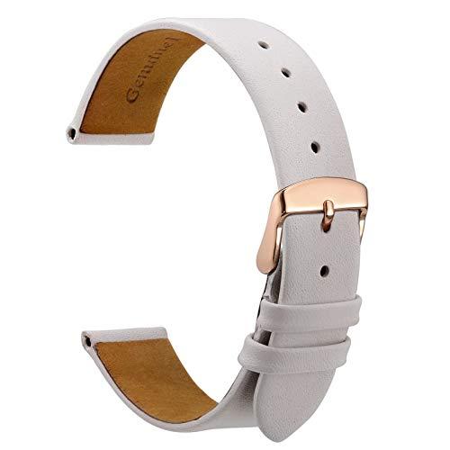 WOCCI 10mm Elegante Correa de Reloj de Cuero con Hebilla de Oro Rosa (Blanco)