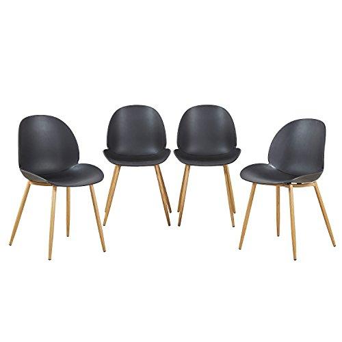 H.J WeDoo Set di 4 Sedie da Pranzo, Sedia Cucina Moderne con Gambe in Metallo Robusto per Sala da Pranzo