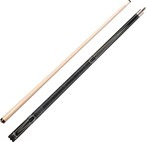 "Viper Sinister 58"" 2-Piece Billiard/Pool Cue, Black with Cream Points, 18 Ounce"