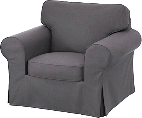 Easy Fit Der Heavy Cotton Ektorp Stuhl-Abdeckung Ersatz ist nach Maß für Ektorp Sessel Cover, EIN EIN Sitz Sofa Slipcover Ersatz Dunkelgrau